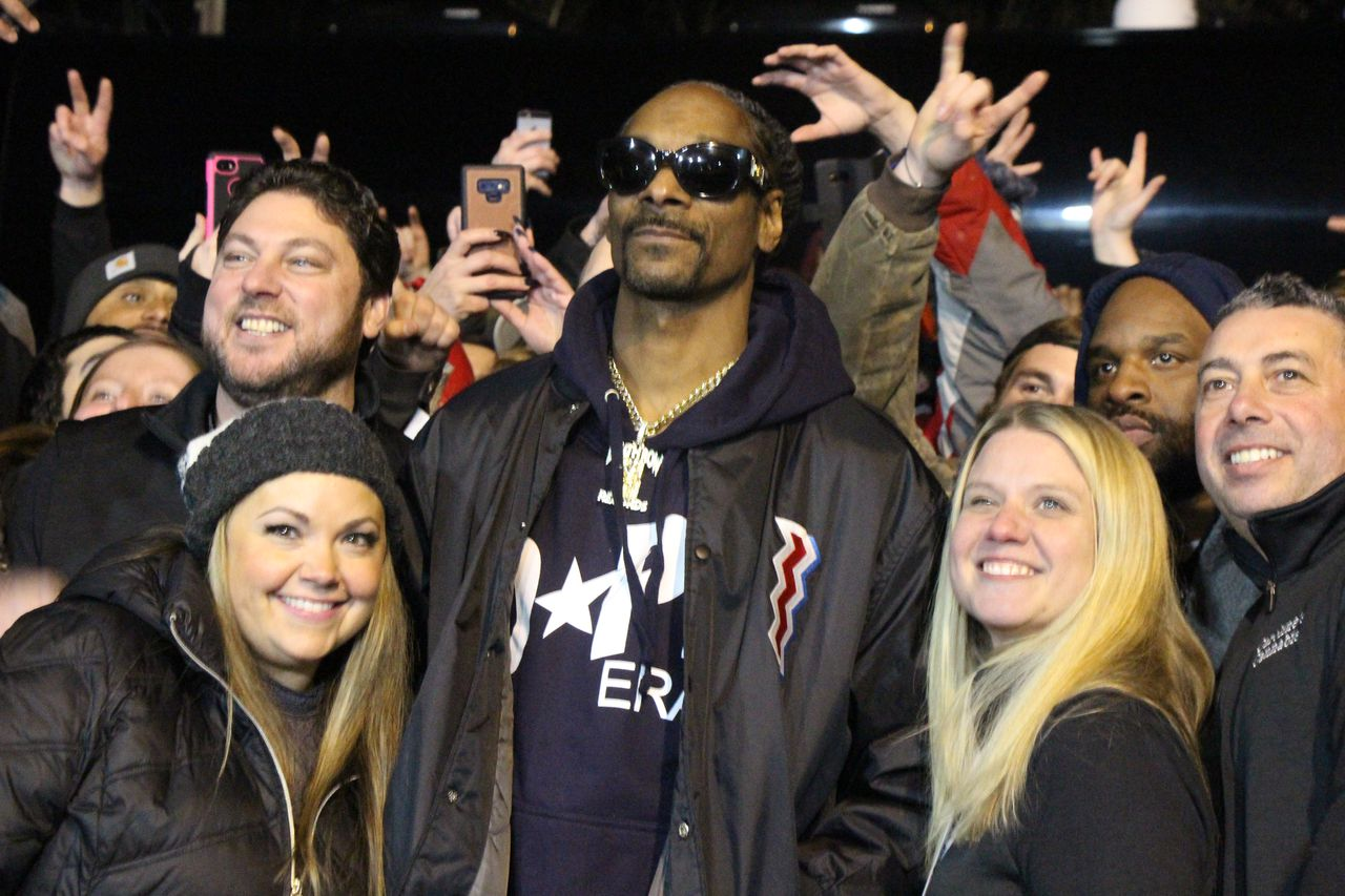 Snoop Dogg performs at Caroline's Cannabis in Uxbridge, takes pictures with fans